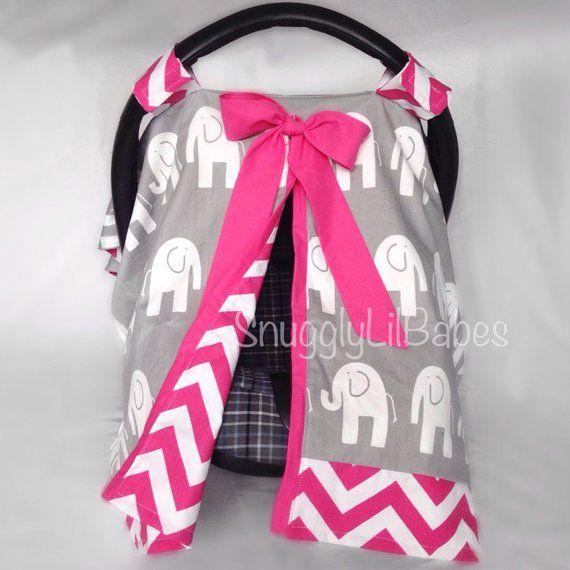 Fuchsia Chevron Grey Elephant Car Seat Canopy Pink Bows