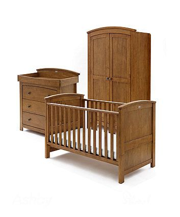 Silver Cross Ashby 3 Piece Nursery Furniture Set Light Walnut
