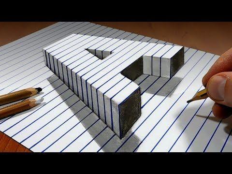 Desenhe uma letra flutuante A em papel de linha 3D Trick Art