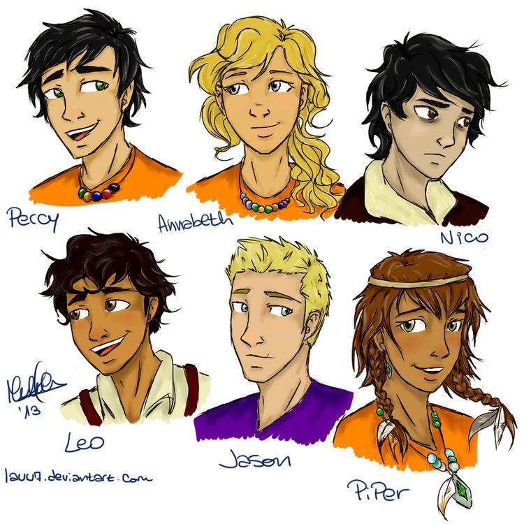 Percy Annabeth Jason Nico Piper and Last but not least Leo