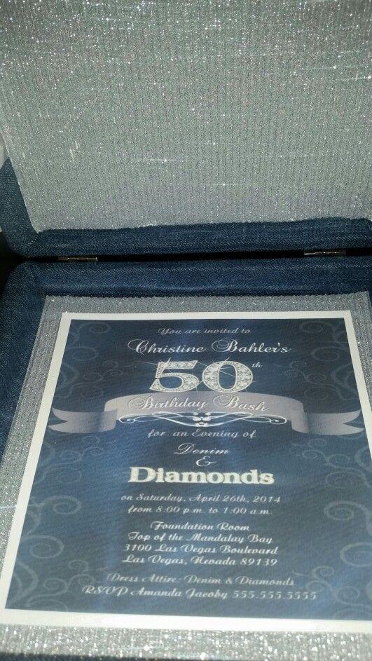 Denim and Diamonds box invitation by Marshay Invitation Bou