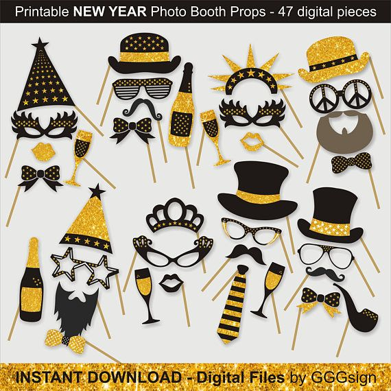 new year photo booth props printable instant download christmas printable props digital file new yea