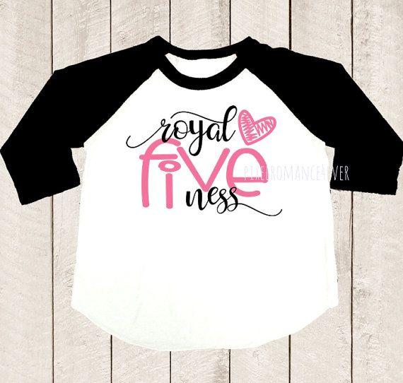 Fifth Birthday Shirt Royal Fiveness Five Years Old Pink Heart Black Raglan Kids Girls Clothing