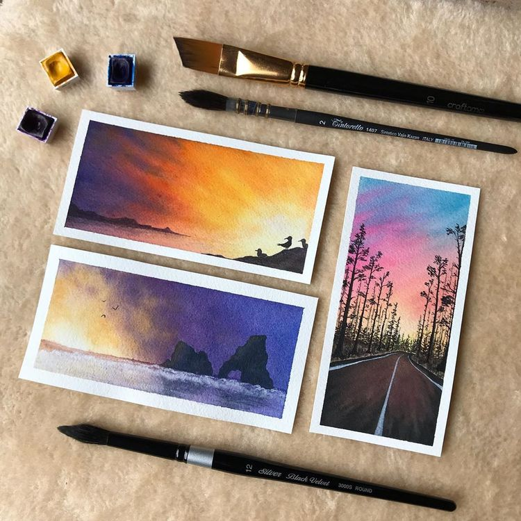 Different colors of the sky 🌈 • • • 🎨 @winsorandnewton and @artezaofficial watercolors 📒 @arches.art 100%cotton paper 🖌…