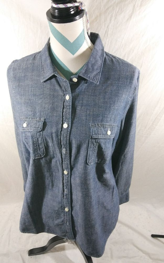 f41e55272 Details about J.Crew Sz S The Perfect Shirt Chambray Button Down Long Sleeve  Women's Shirt