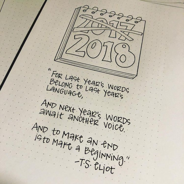 bullet journal yearly cover page new year quotes nerdyteacher