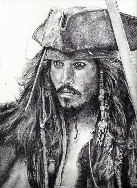 """Gravura de Johnny Depp como Jack Sparrow de """"Piratas do Caribe"""""""