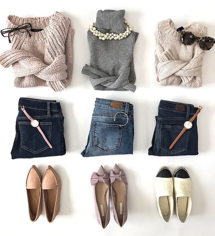 Casual winter or spring outfit ideas -chunky knit sweaters chanel espadrilles bow pumps casual spring outfit ideas