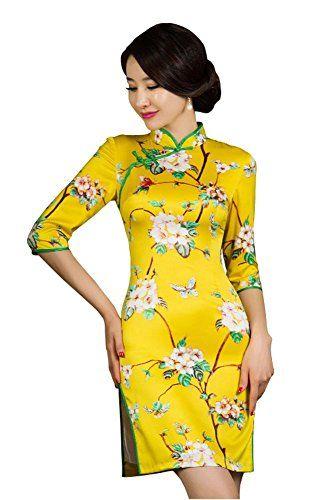 59f6d32c9 Angcoco Women's Half Sleeve Chinese Traditional Mini Cheongsam Dress