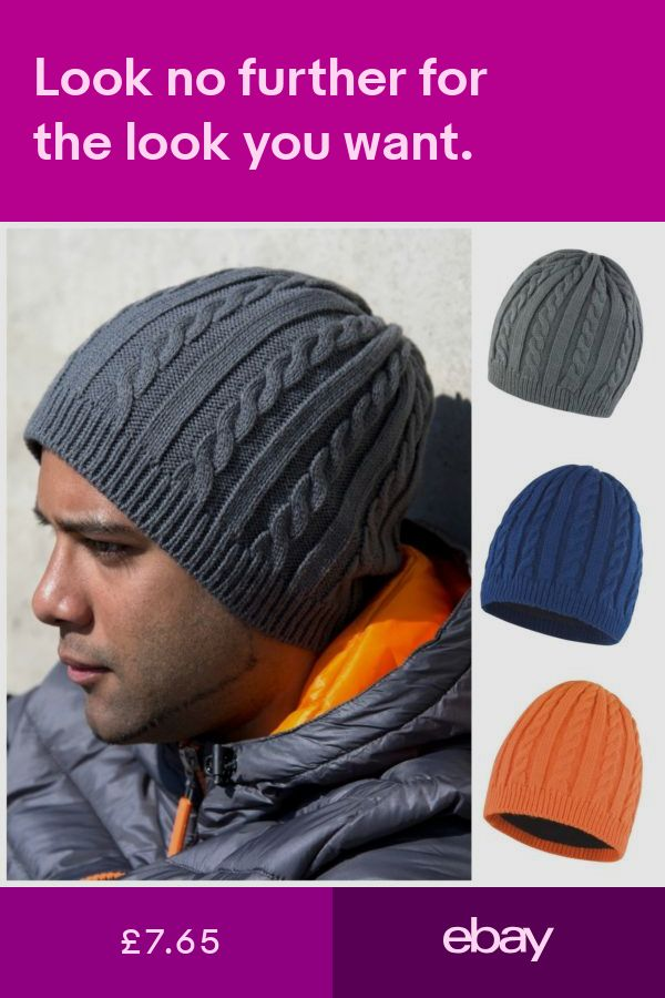 a8042ffc5bc Cable Knit Beanie Chunky Winter Warm Fleece Lined Ski Hat Mens Womens  Ladies. Hats Clothes