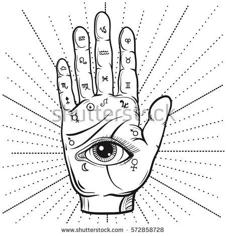 63dc377d7371e48fedd2f13a648566bd fortune teller hand with palmistry diagram, hand drawn all