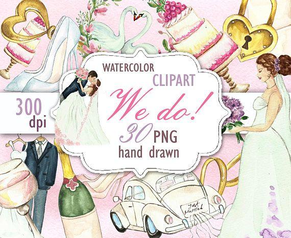 wedding clipart bride clipart bridal shower invitation diy wedding watercolor clip art