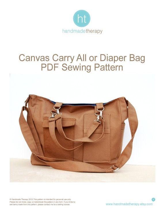 Bag Sewing Pattern. PDF Sewing Pattern - Satchel Bag. Canv