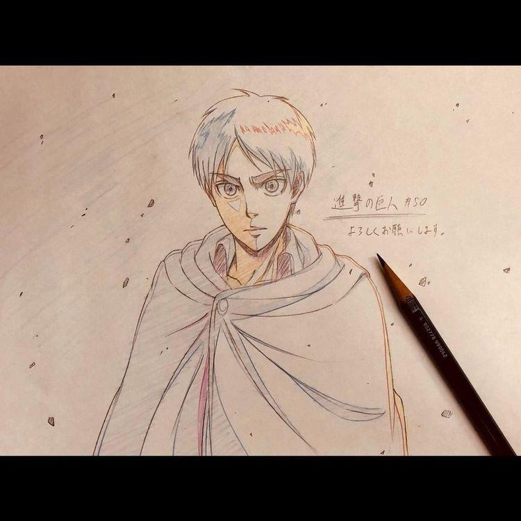 "Wiki de Attack on Titan no Instagram: ""Nova ilustração do animador う え み。 (uemiko6) para comemorar a transmissão da Attack on Titan Season 3 Part 2 #attackontitan # shingekinokyojin…"""