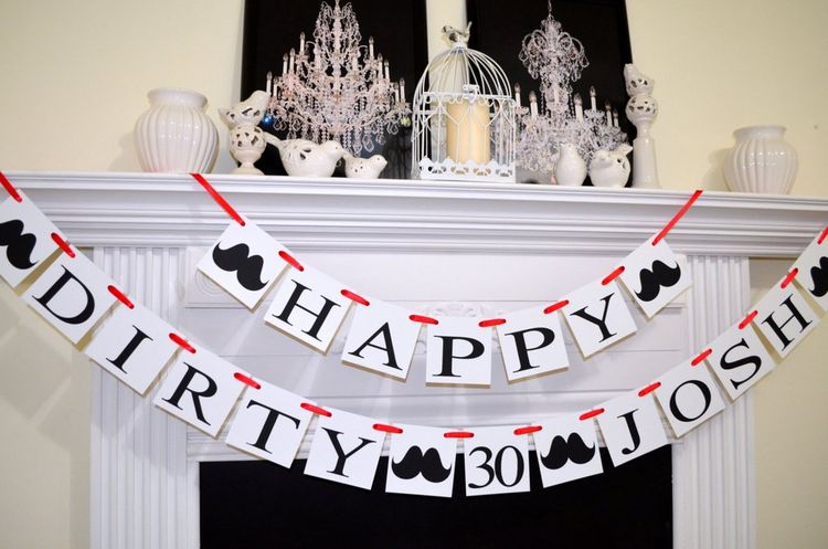 30th Birthday Decoration Dirty 30 Banner Party Decor Garland
