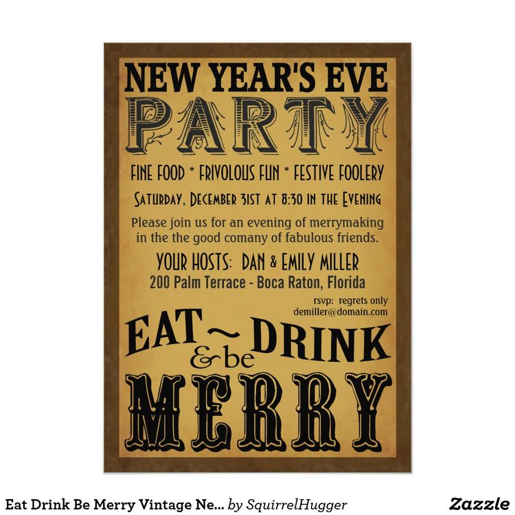 eat drink be merry vintage new years eve invite