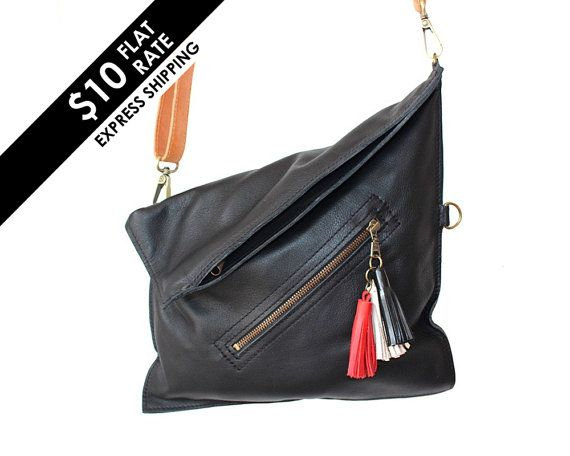 1d5302d0121a Crossbody bag Leather cross body purse Black leather by Percibal