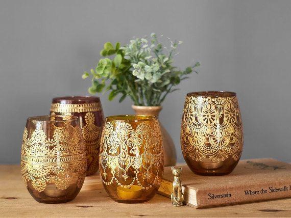 Henna Apothecary Jars Farmhouse Table Votive Candle Holder