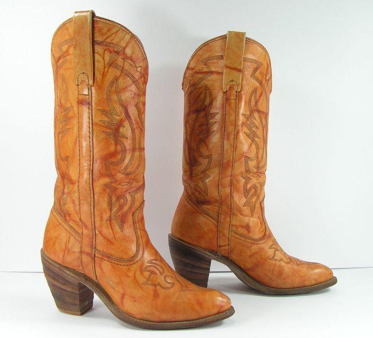 52259343a88 vintage miss capezio cowboy boots womens 8 B M brown leath