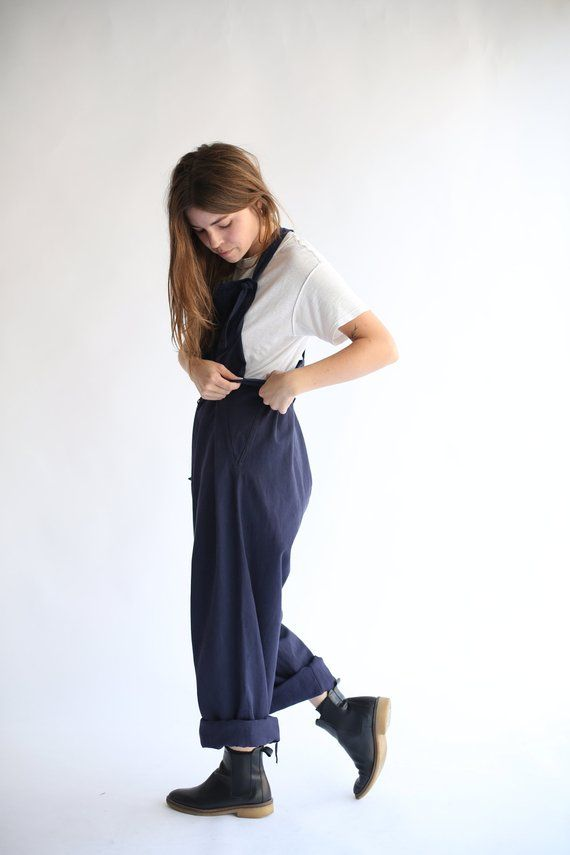 336018a9f12 Vintage Overdye Navy Blue Tie Overalls