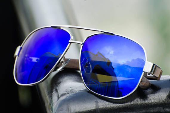 6c9f2365ad Polarized Blue Mirrored Aviators - Bamboo Arms - Wooden Sunglasses. Wooden  Aviator Sunglasses by Halcom Stilson. Eco-Friendly