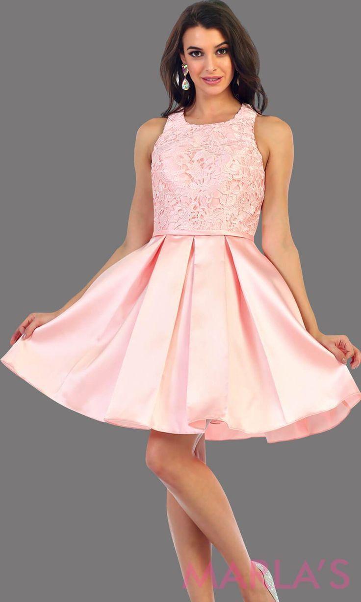 68970ad83f148 Marla's Fashion Dresses @marlasfashions. 26w 0. 1463-Short taffeta pink  dress with lace bodice. This blush grade 8 grad dress