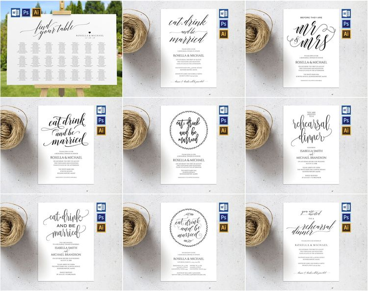 best sellers wedding bundle friendly budget printable wedding invitation set wedding program wedding seating chart bridal shower invite wedding signs