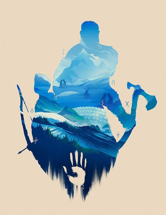 God of War Art Print Kratos Atreus Game Poster Silhueta da paisagem nórdica