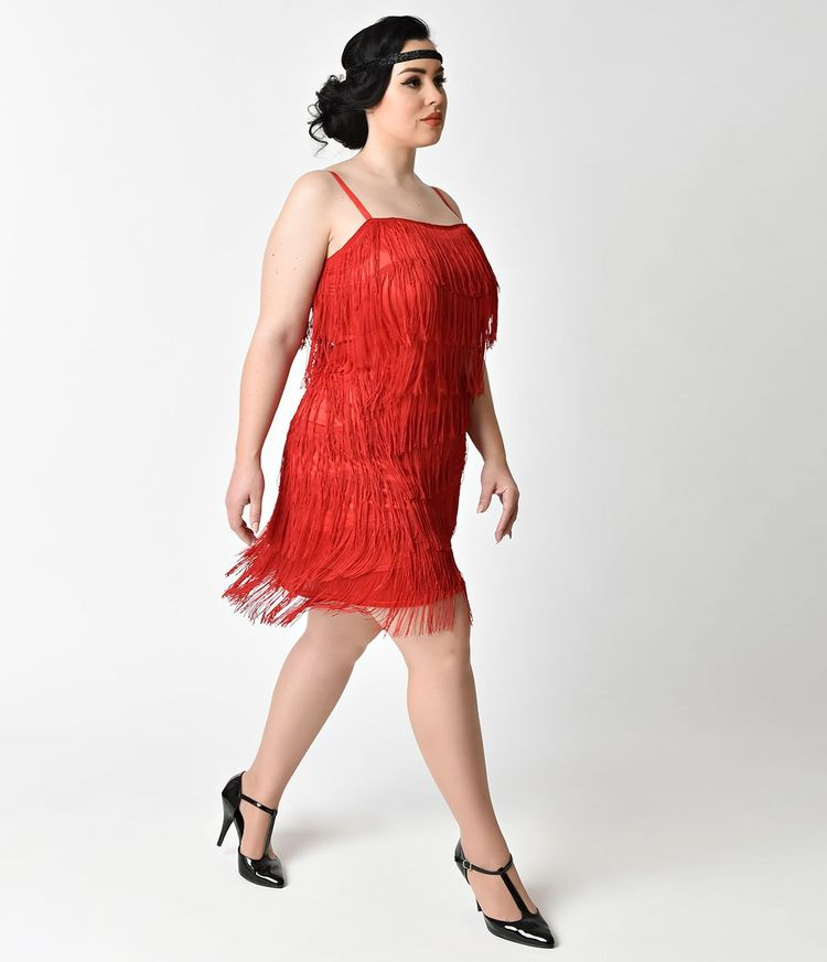 Plus Size 1920s Style Red Speakeasy Tiered Fringe Flapper