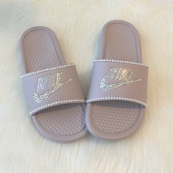 check out feef5 7067f Swarovski Nike Slides Custom with Pearls   Bling Rose Pink Color More  Colors Available