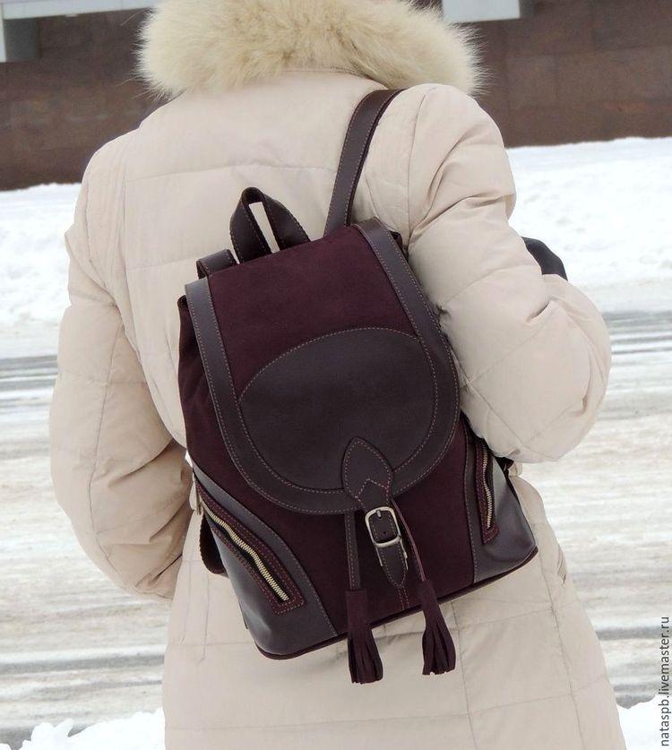 Купить Бордовый кожаный рюкзак
