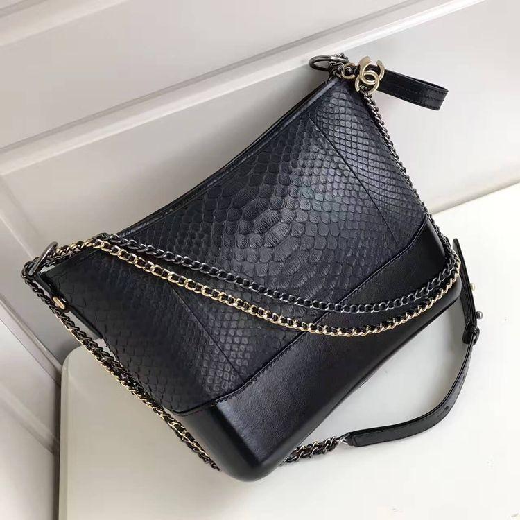 4237806f9925 Chanel Gabrielle Medium Hobo Bag in Python Leather & Calfskin A93824 Black  2017
