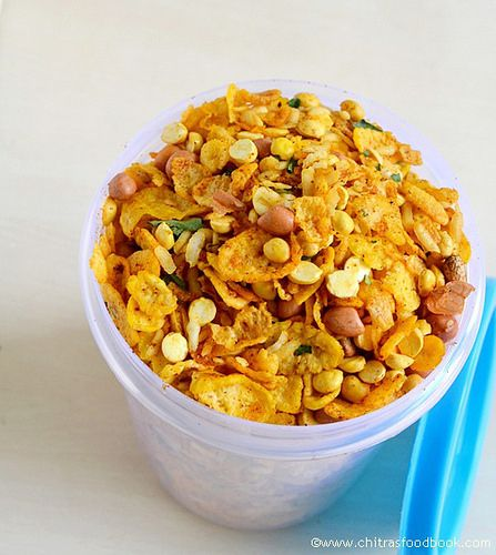 Low fat cornflakes mixture recipe using Microwave-Yummy teatime snacks recipe!