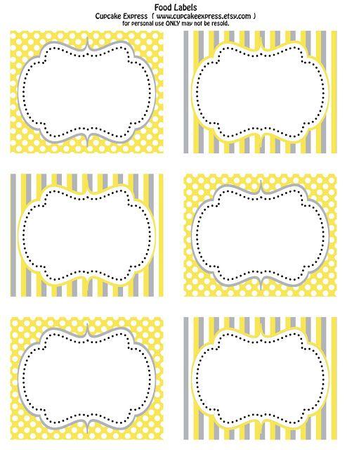 cupcake express free printable yellow and grey food labels