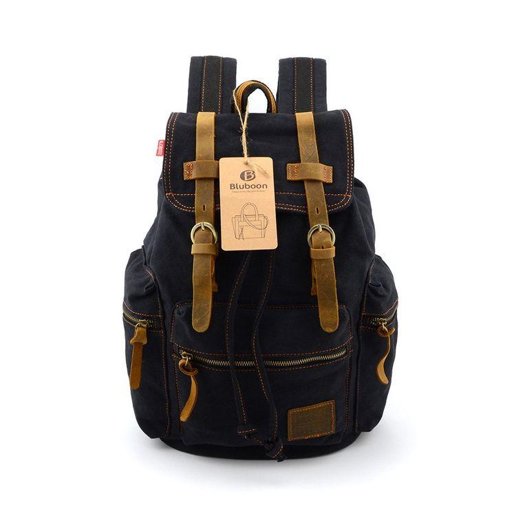 BLUBOON(TM) Brand New Vintage Men Casual Canvas Leather Backpack Rucksack  Bookbag Satchel Hiking Bag (Black) (1pcs)  Amazon.co.uk  Sports   Outdoors e605cdd8e1