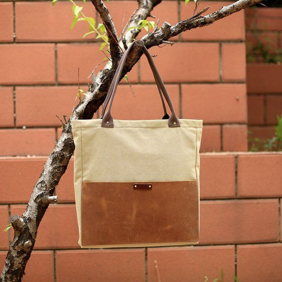 Leather Canvas Bag, Handbag, Canvas Bag, Shopper Bag, Leather Bag, Tote 33aa0de558