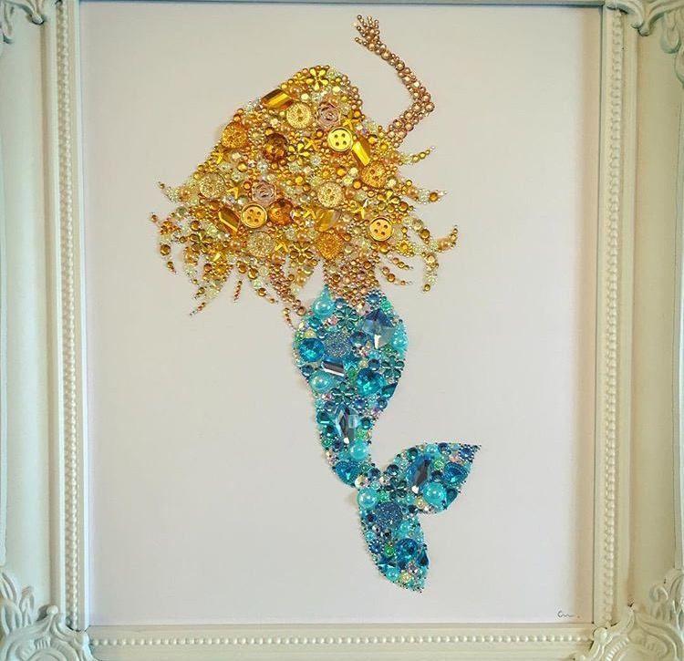 Mermaid wall art girls button frame gift Swarovski nautica