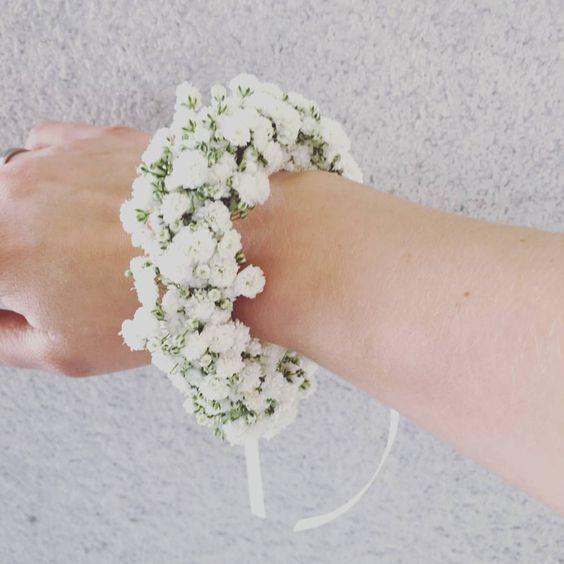Armband Schleierkraut Weiss Gypsophila Trauzeugin Bri