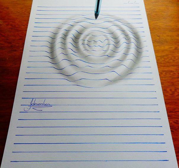 Artista de 15 anos cria desenhos de ilusão em 3D notáveis em papel pautado