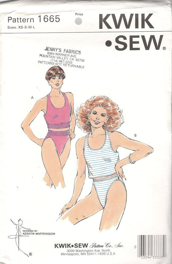 64e0ae856e99 Kwik Sew 1665 1980s Misses Lingerie Pattern Tank Top and Panties High Cut  Leg Womens Vintage Sewing Pattern Size XS S M L B 31 - 41 UNCUT