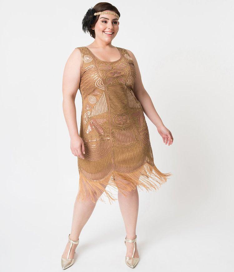 8ee78ce8dc3 Plus Size 1920s Style Gold Beaded Fringe Raina Flapper Dress. Unique Vintage  ...
