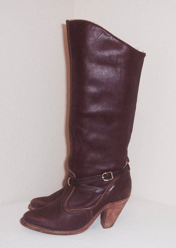 f2df46a34cdd0 Sz 7.5 M Vintage Tall Dark Brown Genuine Leather 1980s Wome