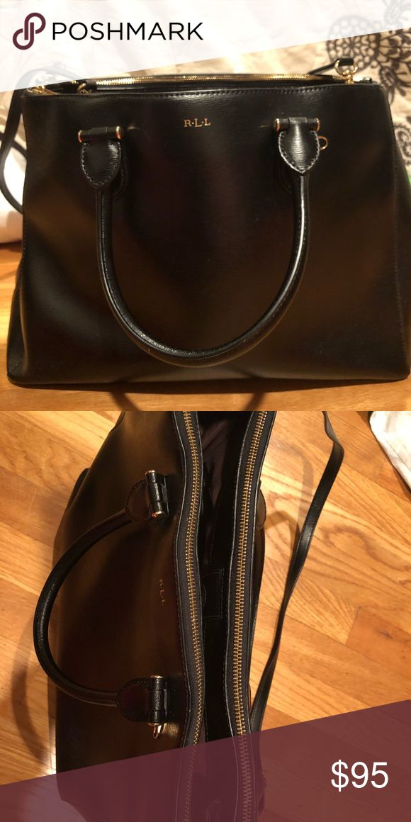 66d96e75e87b Ralph Lauren Large black tote Bag Ralph Lauren Large black leather tote bag.  Two zippers on the outside easily fits laptop. In great condition minor  scuff ...