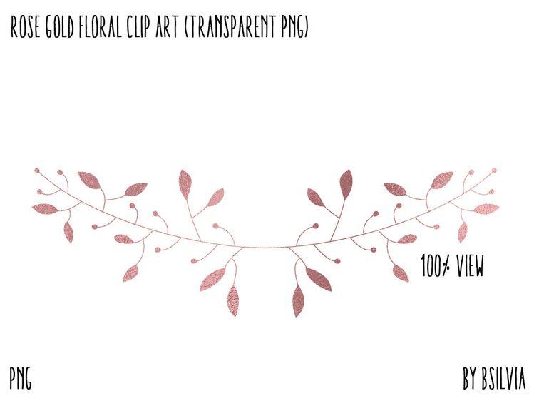 Rose Gold Floral Clip Art, Rose Gold Foil Leaves Clipart, D
