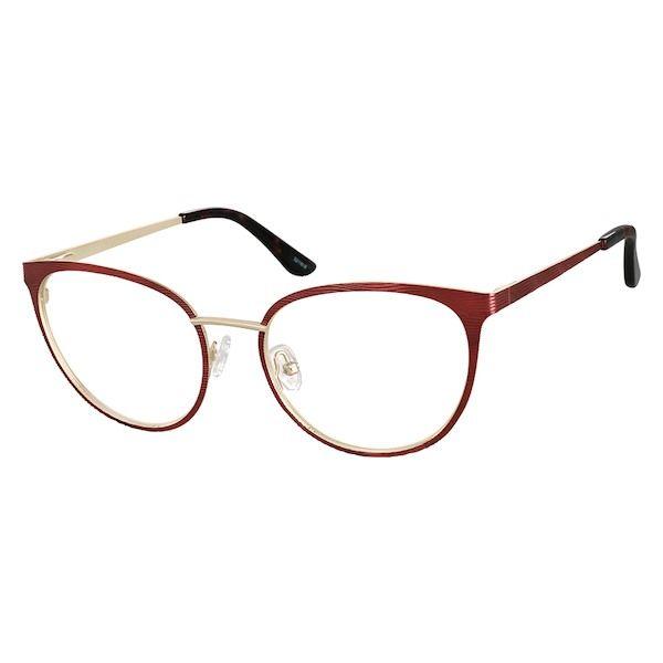 7af6afa2c83 Zenni Womens Cat-Eye Prescription Eyeglasses Red Stainless Steel 3211618