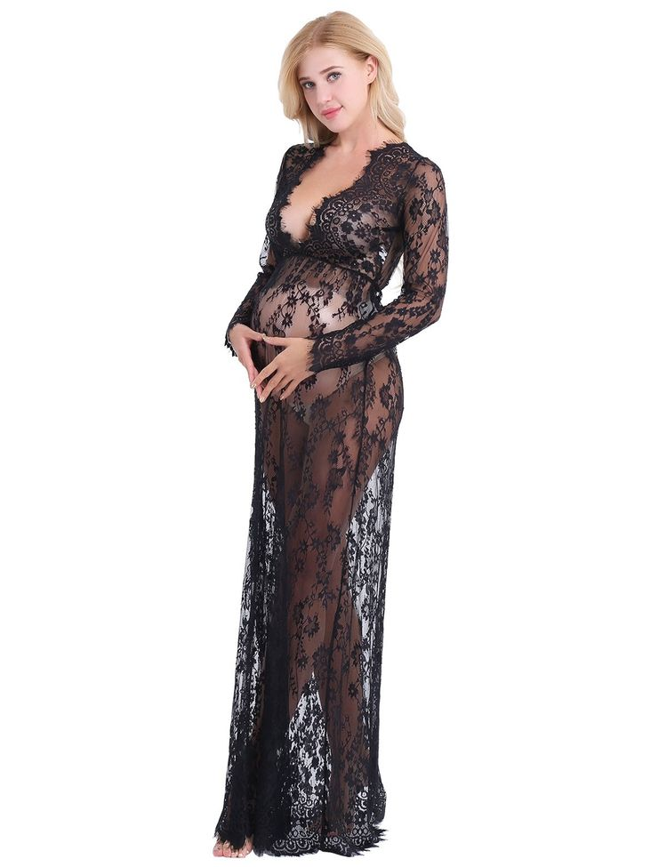 b07a1ae3d04 Maternity Fashion - sensible maternity dresses   YiZYiF Maternity Deep  VNeck Long Sleeve Floral Lace Maxi