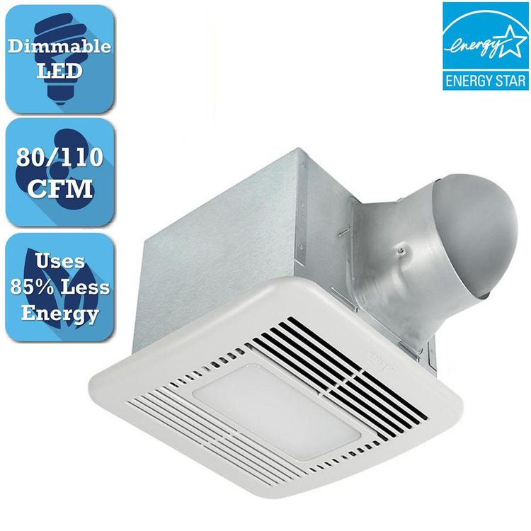 ordinary Delta Breez Greenbuilder Ventilation Fan With Led Light Part - 19: Delta Breez Signature 80-110 CFM Adjustable Speed Ceiling Bathroom Exhaust  Fan with Dimmable LED