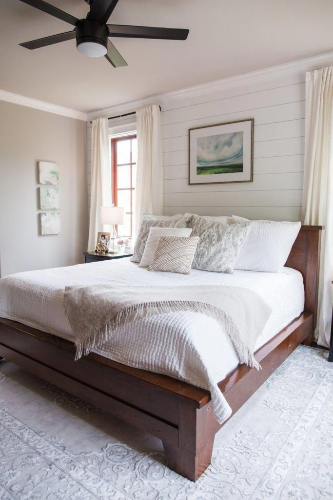 White and Grey Master Bedroom | Neutral transitional bedroo
