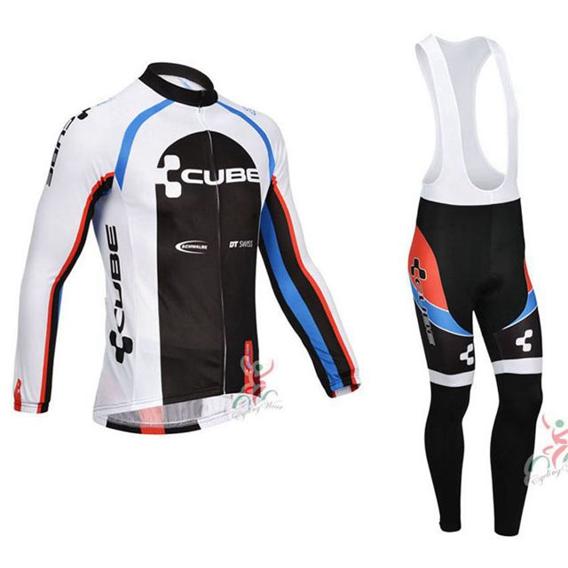 e2a7bbd9a Men CUBE Cycling Clothing Long Sleeve Bicycle Cycling Jersey Set Maillot  Ciclismo Road Bike Clothing MTB
