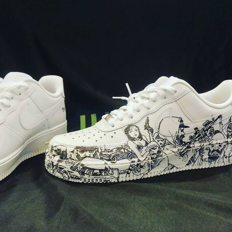 "Sharpie shoes, Custom sneakers, Shoes, Shoes drawing, Custom shoes, Sneakers - Kim Jung Gi US on Instagram ""Private commission on a pair of Air Force I nikeairforce1 Nike airforce1 sharpie sharpiear -  #Sharpieshoes"